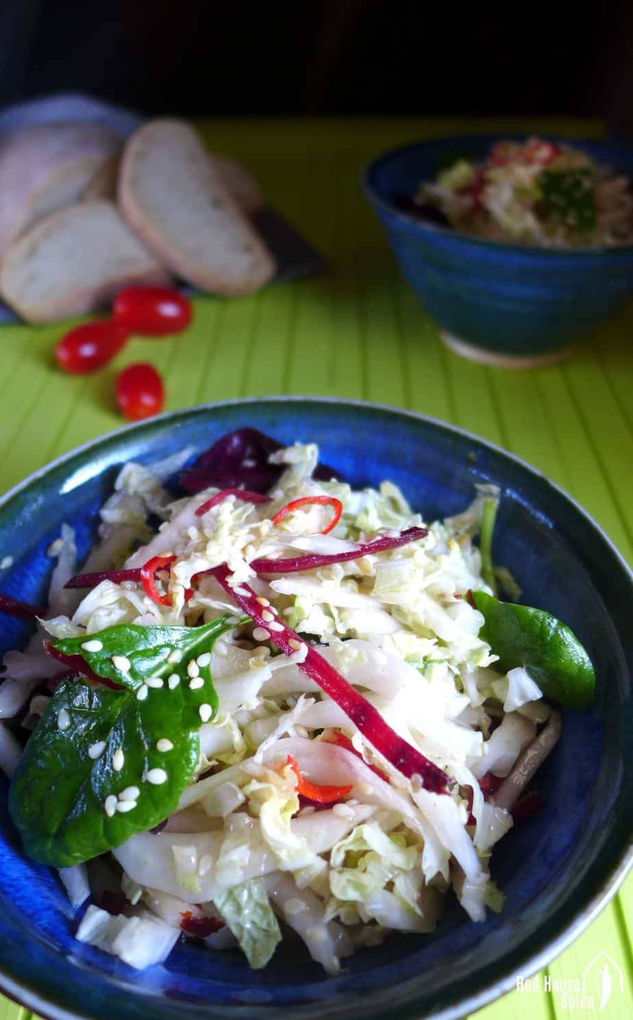 A bowlful of Napa cabbage salad with hot oil dressing