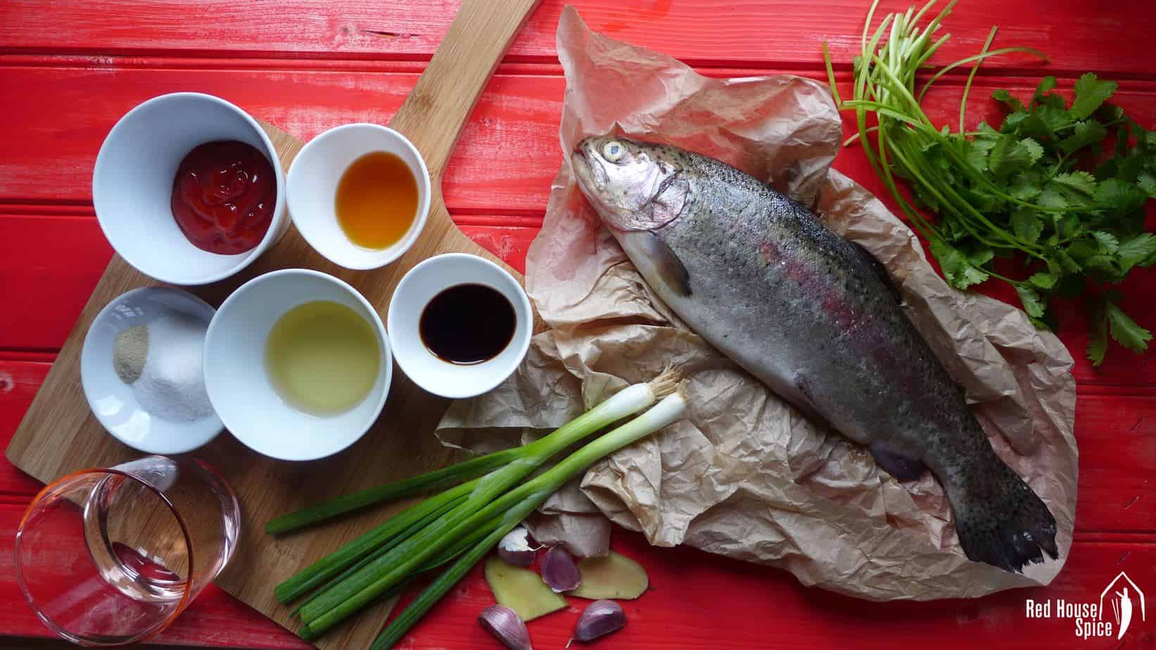 Ingredients for making Chinese sweet & sour fish