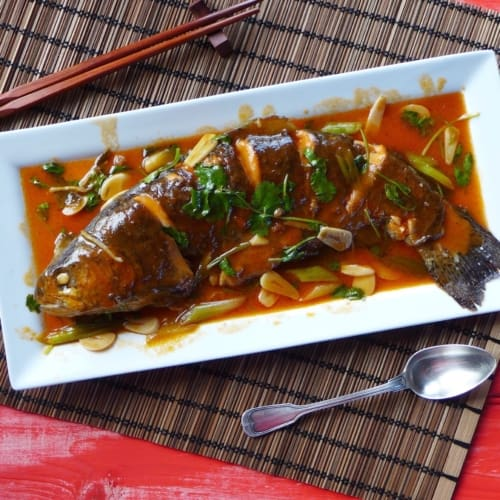 Chinese sweet and sour fish on a plate