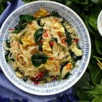 Egg fried rice noodles with spinach