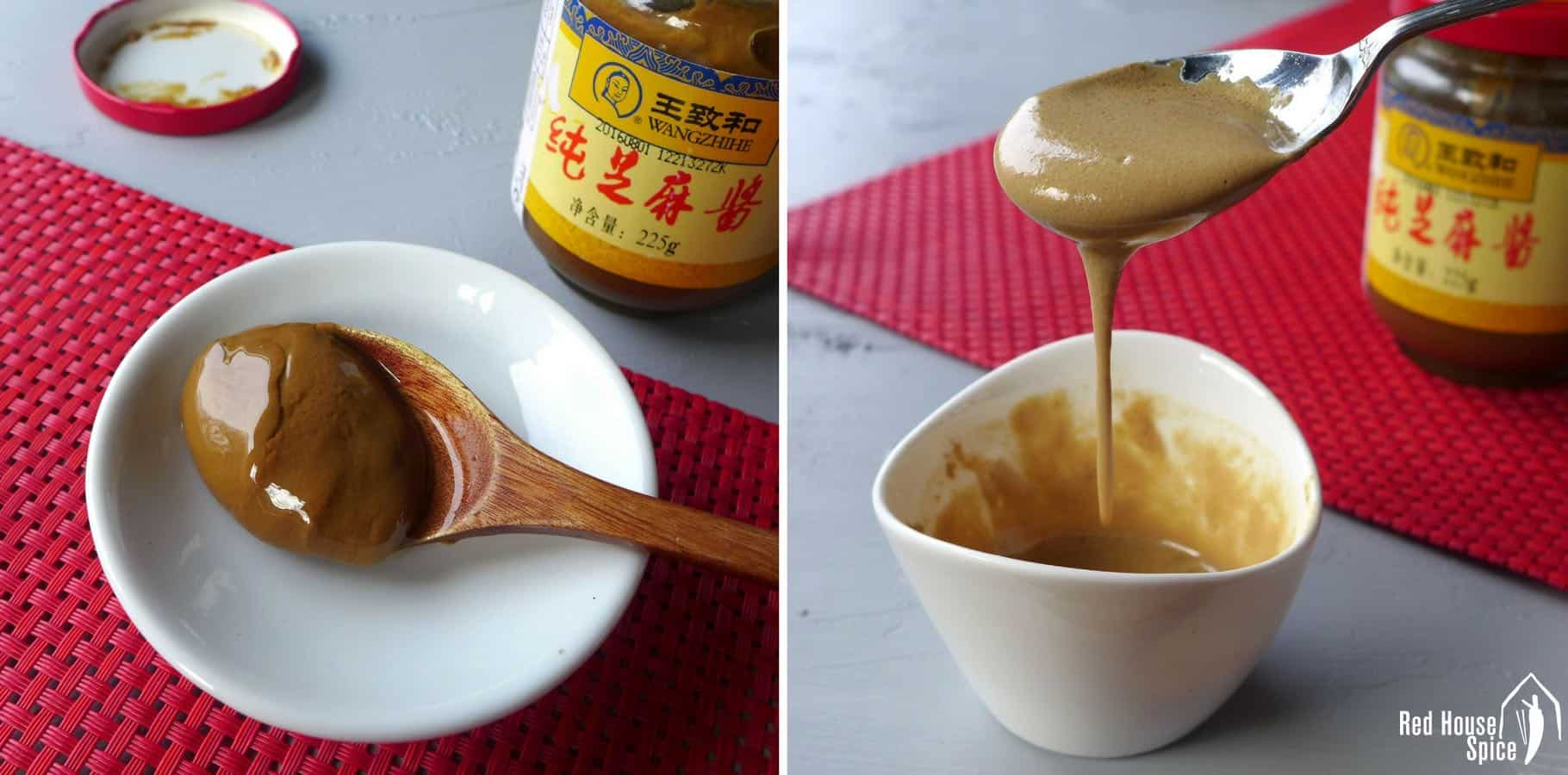 Chinese sesame paste is a popular condiment used in noodles, salad, hot-pot dipping sauce, etc. It can be substituted in three ways.