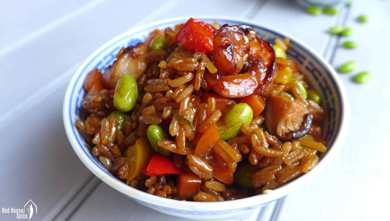 Chinese soy sauce rice pilaf