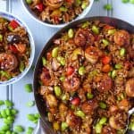 Chinese soy sauce rice with fried prawns