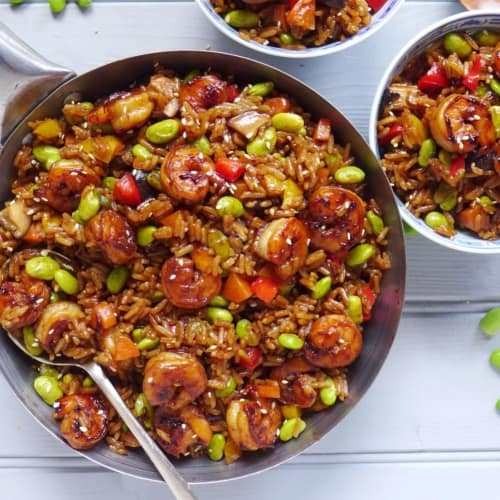 Soy sauce rice with soybeans & prawns