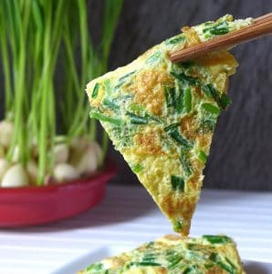 Homegrown garlic sprout omelette