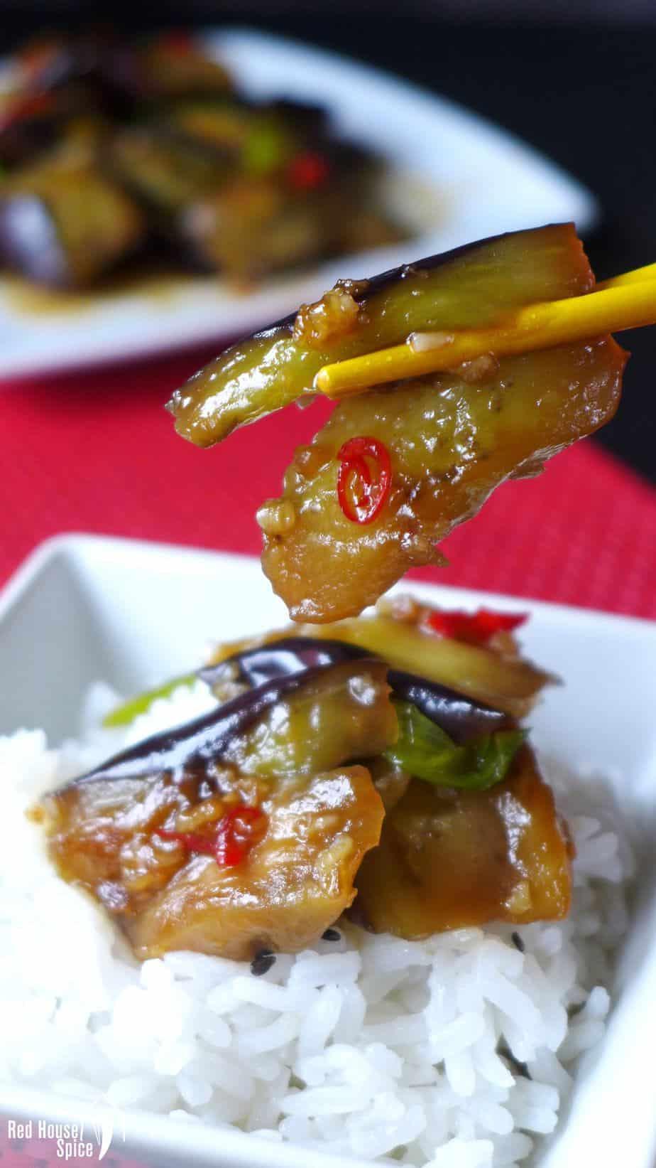 stir-fried eggplant over rice