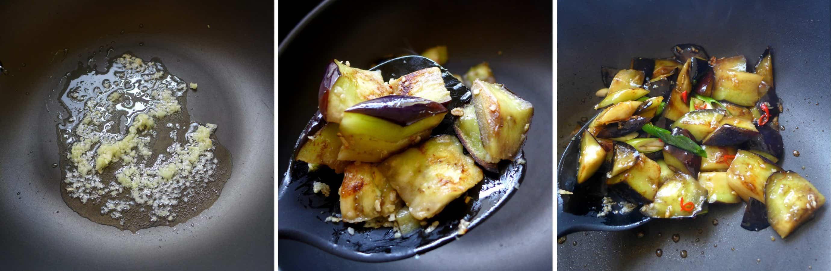 stir-frying eggplant with plum sauce