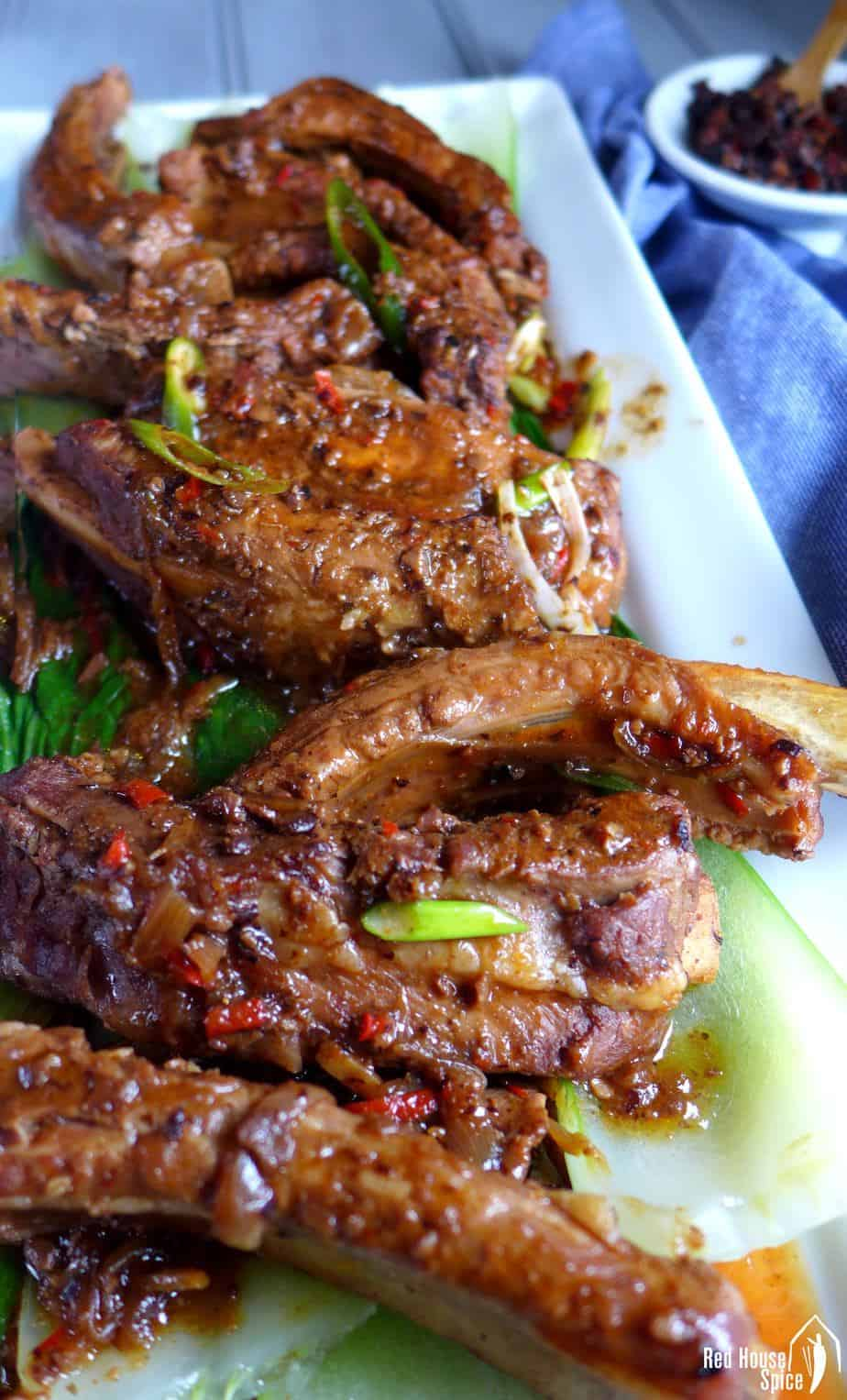 A plate of braised spare ribs with black bean sauce.
