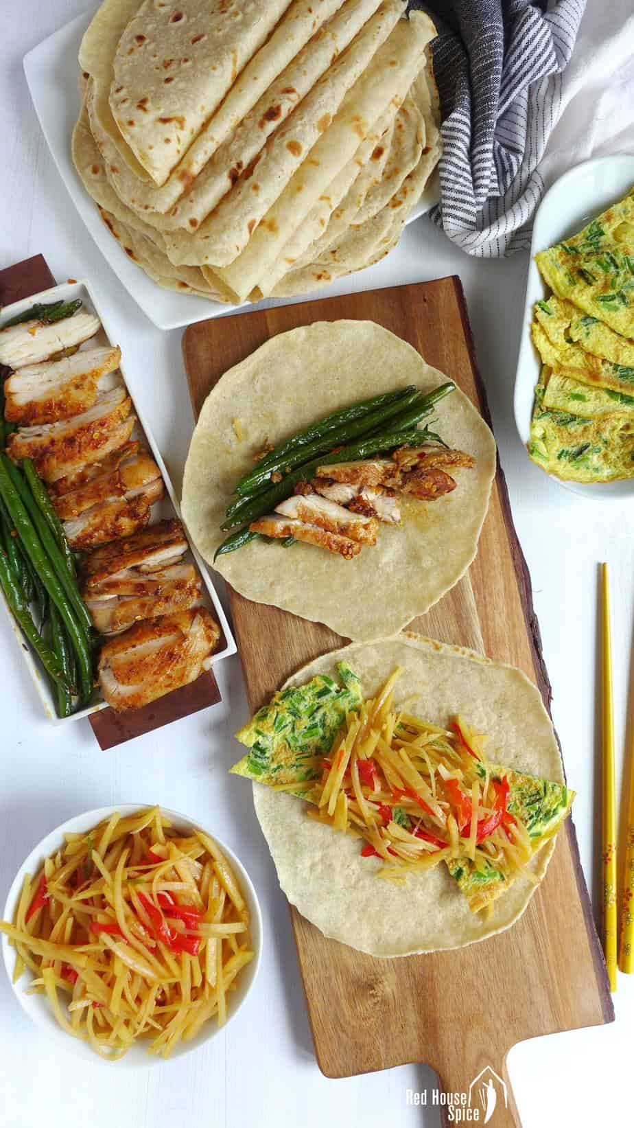 Chinese spring pancakes filled with meat & veggies