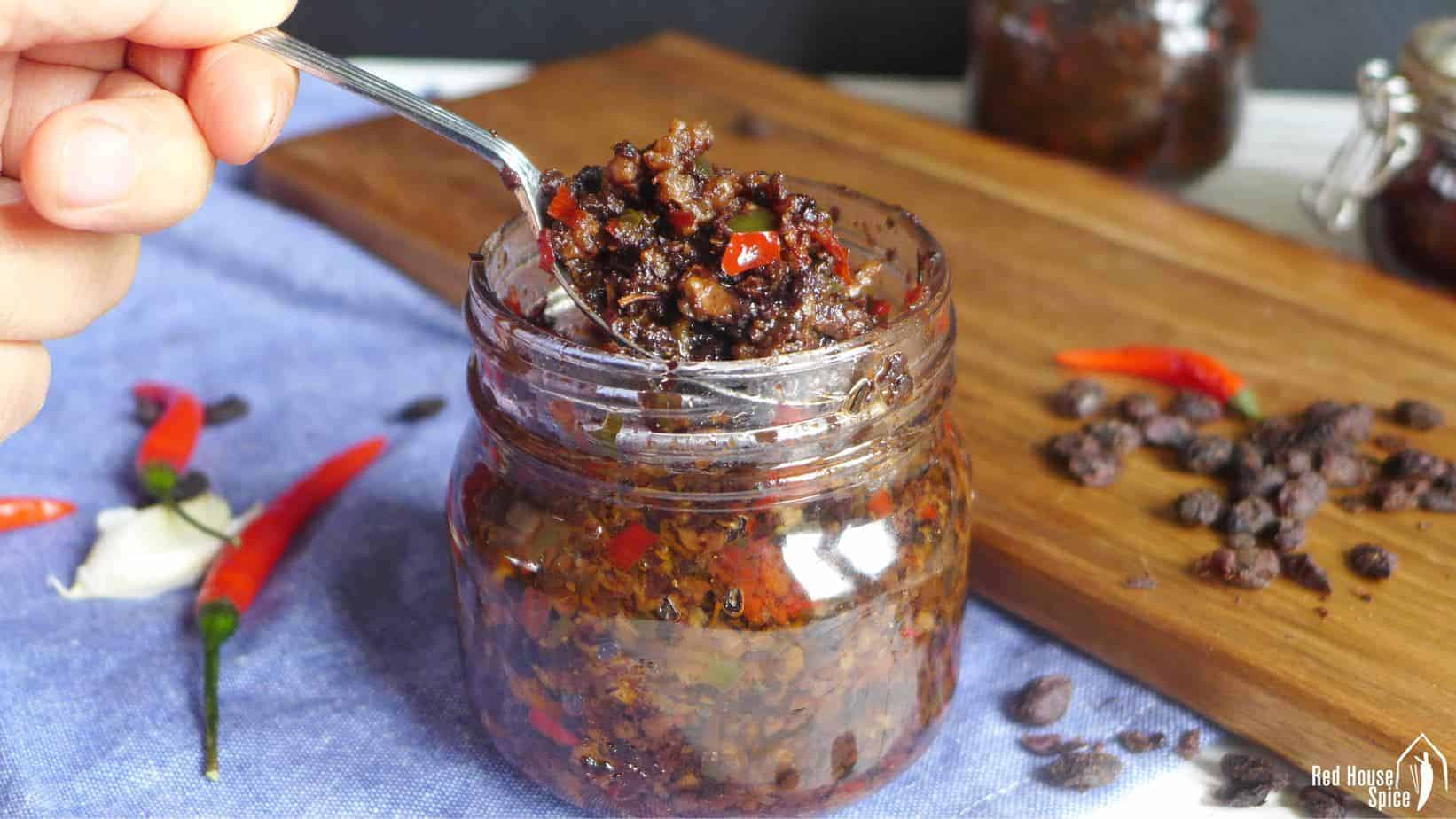 A jar of Chinese black bean sauce.