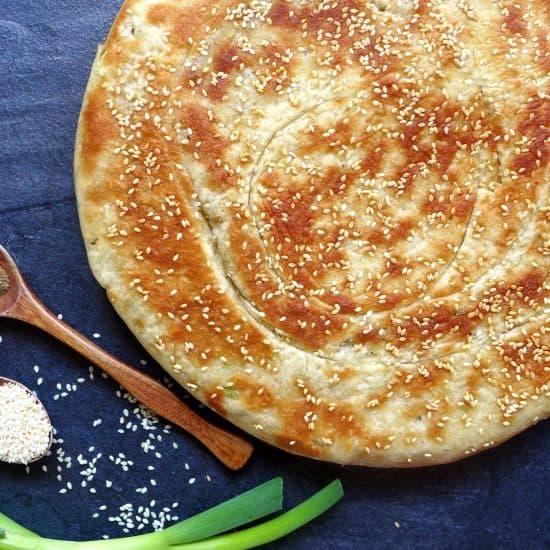 Leavened scallion flatbread