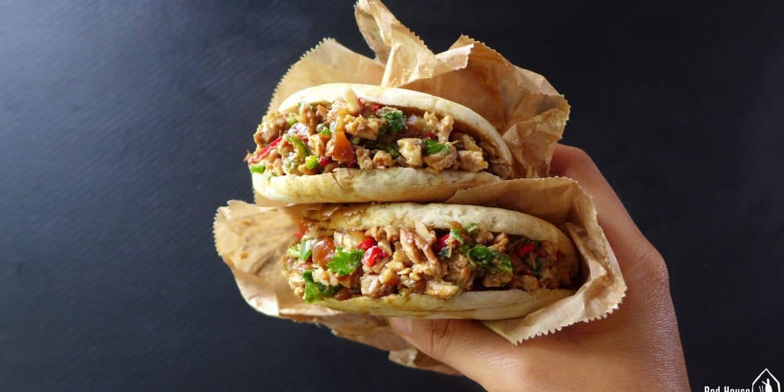 A Chinese burger stuffed with shredded pork
