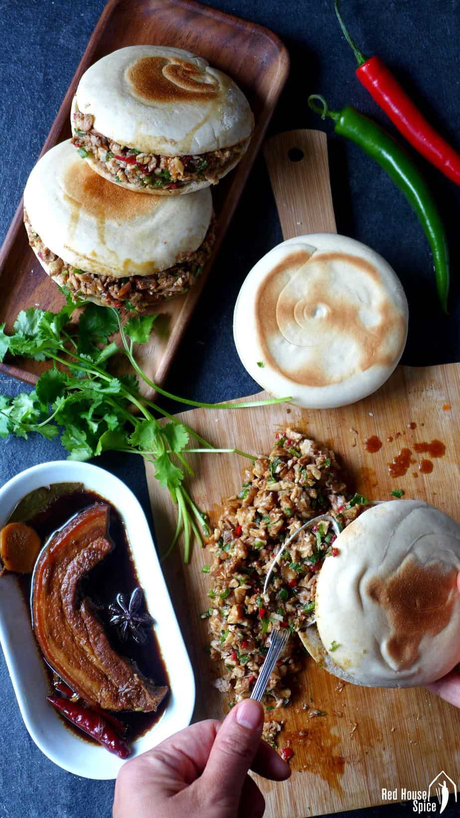 Chinese pork burgers and some braised pork belly.
