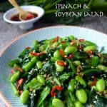 Spinach and soybean salad with Chinese ginger dressing.