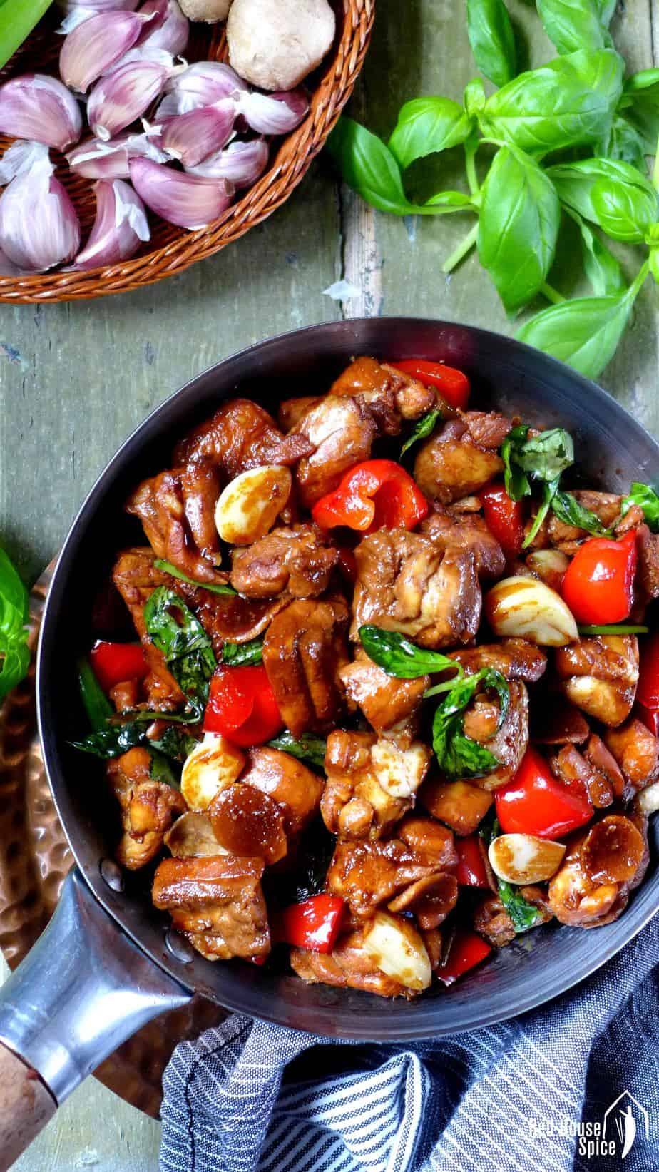 Taiwanese three cup chicken in a wok