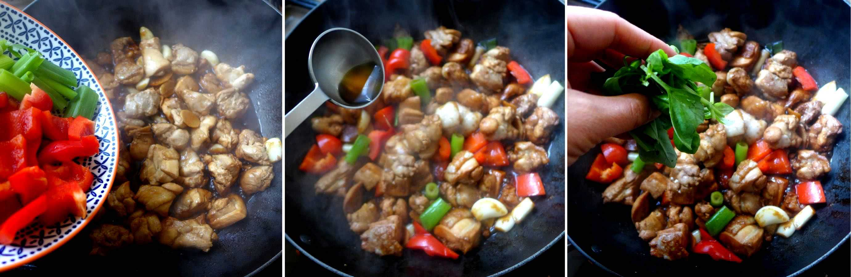Cooking three cup chicken