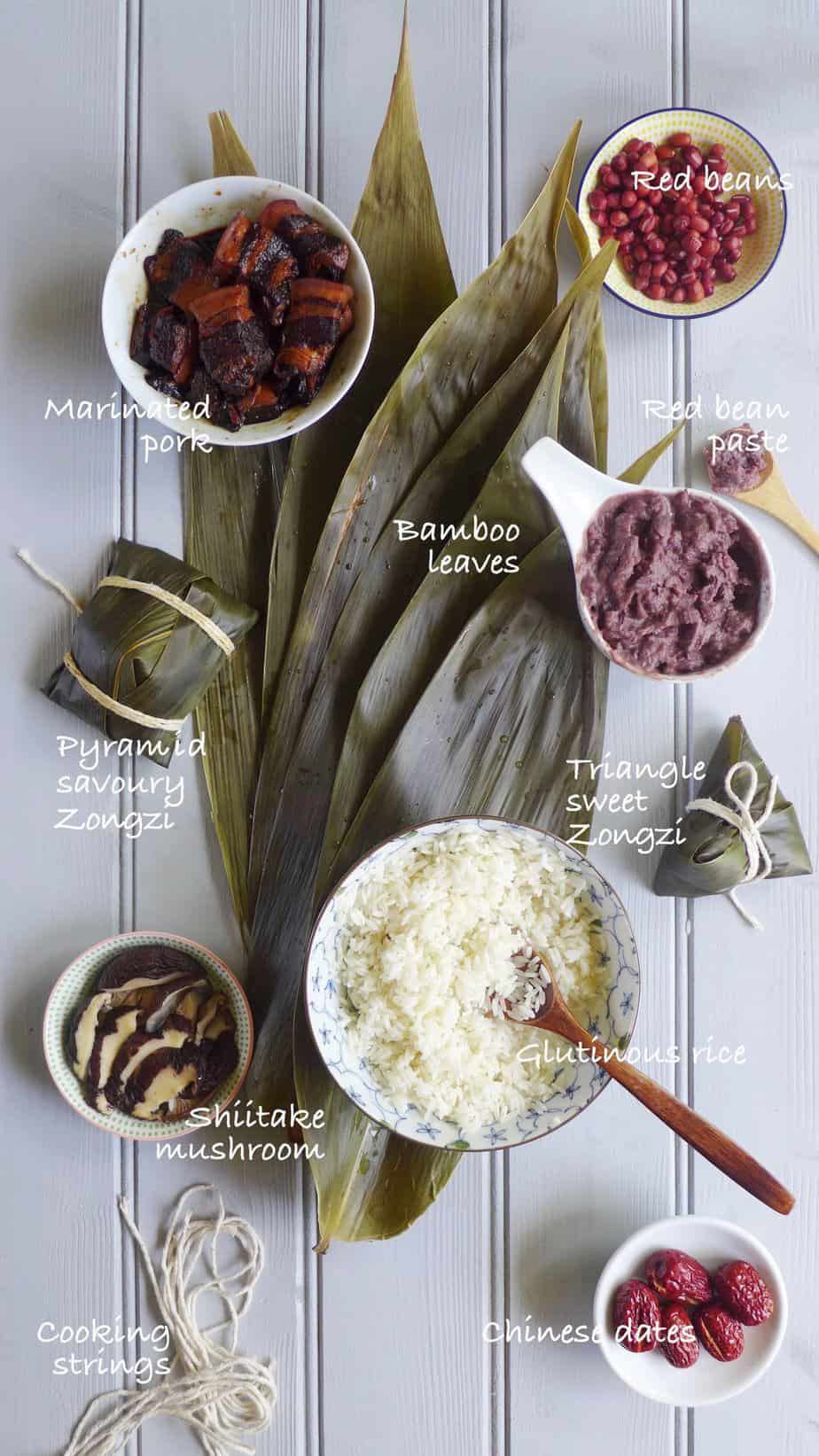 Bamboo leaves & ingredients for making Chinese sticky rice dumplings.