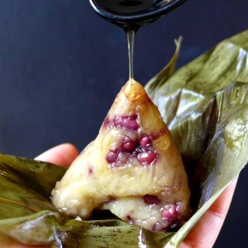 An unwrapped Chinese sticky rice dumpling (Zongzi)