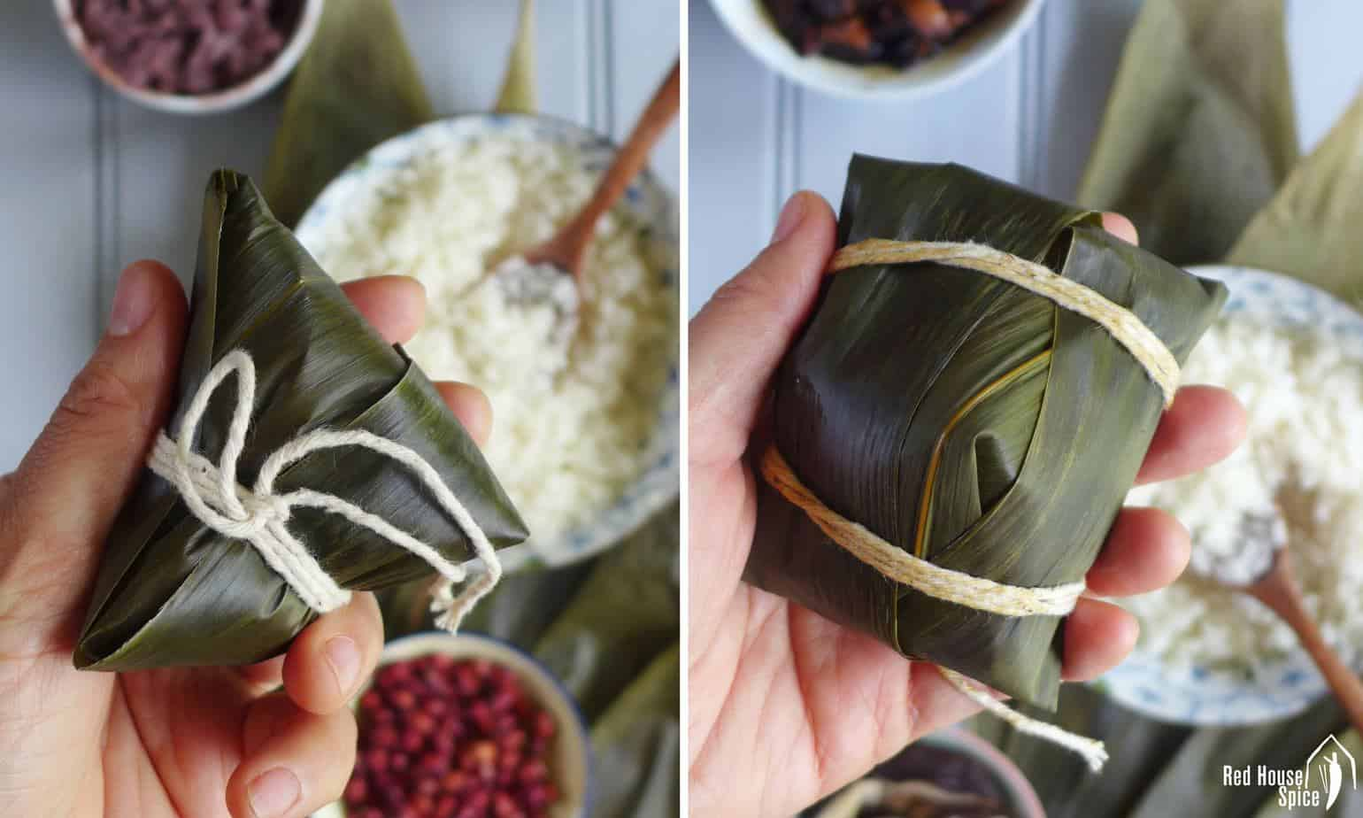 Chinese sticky rice dumplings in two different shapes