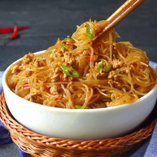 """Don't be put off by its weird name! """"Ants climbing a tree"""" is a super tasty Sichuan dish containing vermicelli noodles, minced meat and various pungent seasonings."""