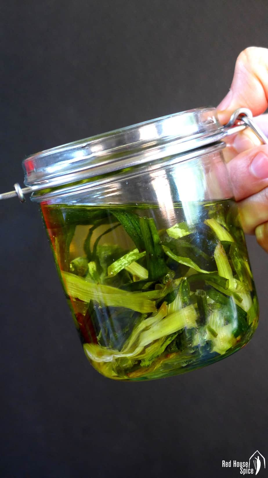 A jar of spring onion oil
