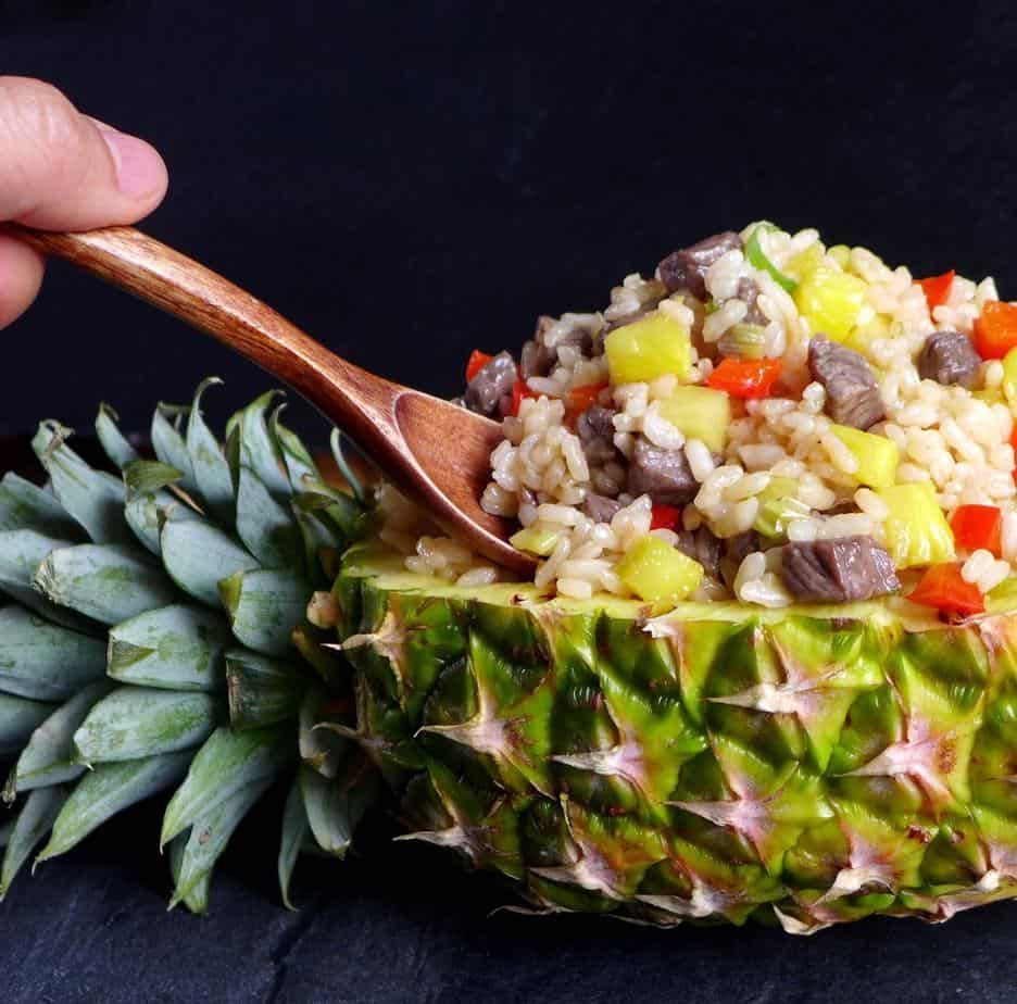 Beef fried rice inside a pineapple shell