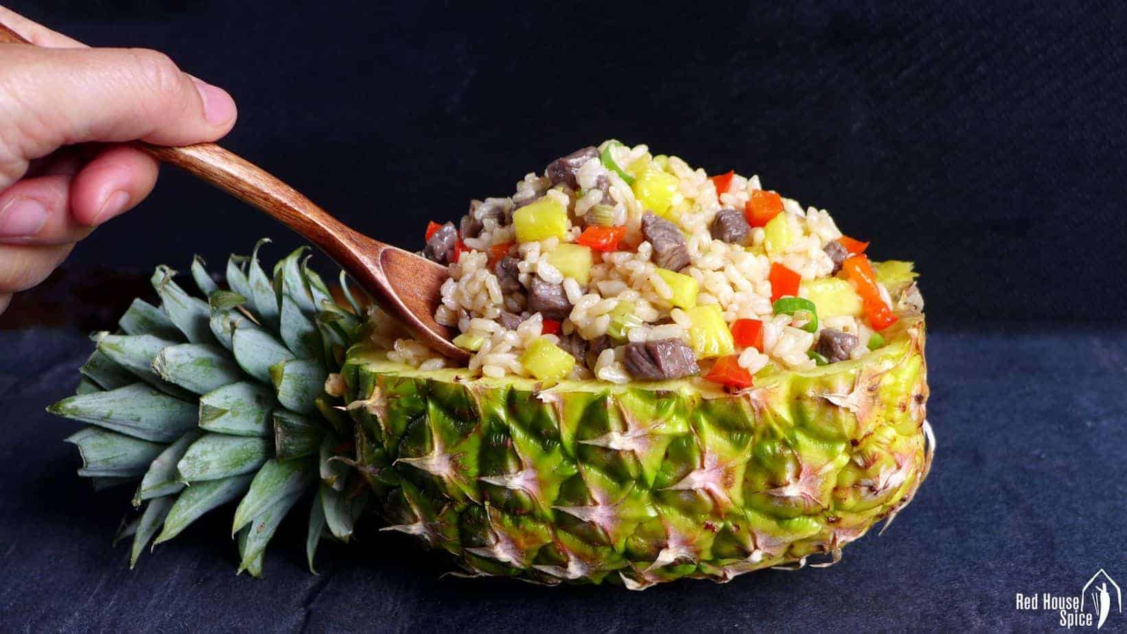 Easy Beef Amp Pineapple Fried Rice 牛肉菠萝炒饭 Red House Spice