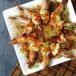 Steamed prawns on a bed of vermicelli noodles