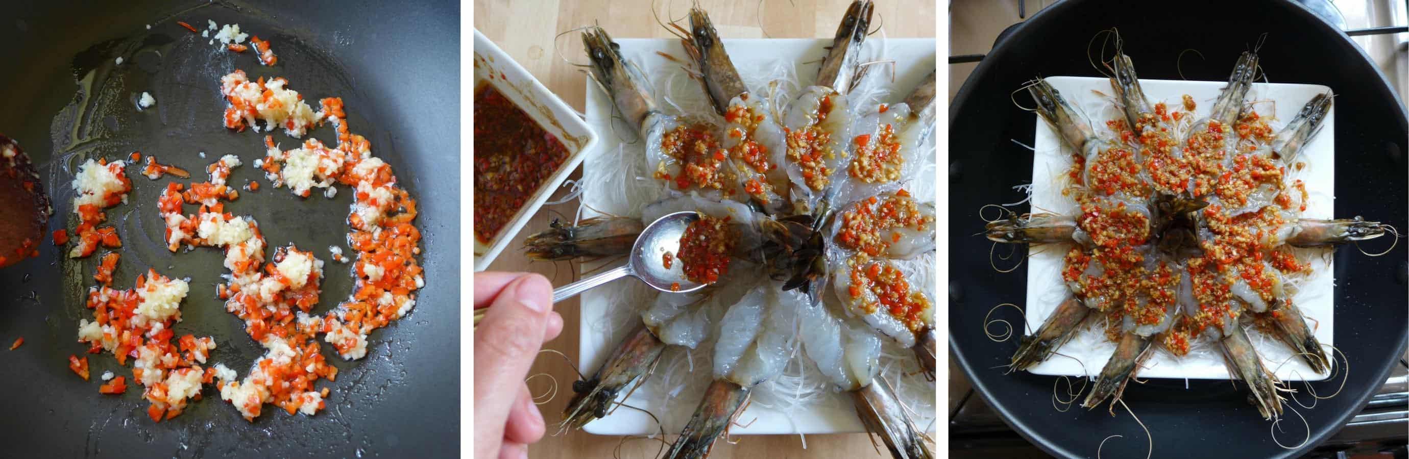 Putting seasoning onto prawns for steaming