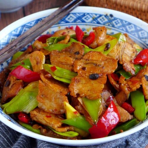 A plate of Sichuan twice cooked pork belly