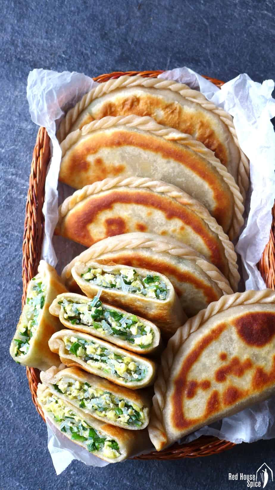 Pan fried Chinese chive pockets