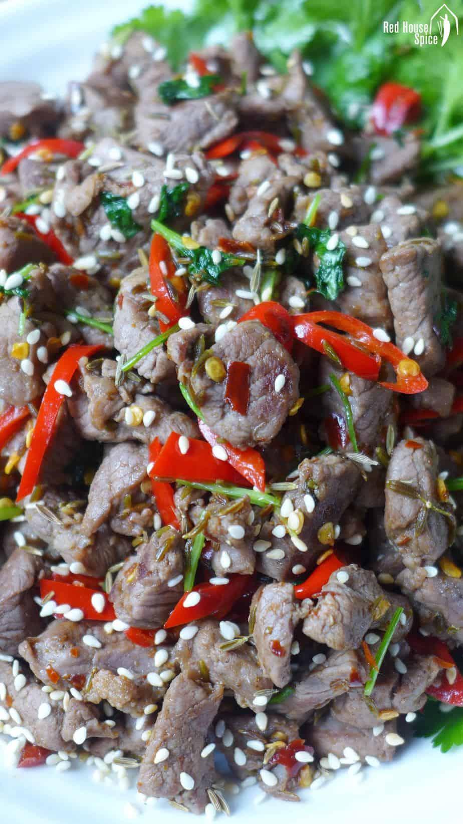 spicy cumin lamb stir-fry