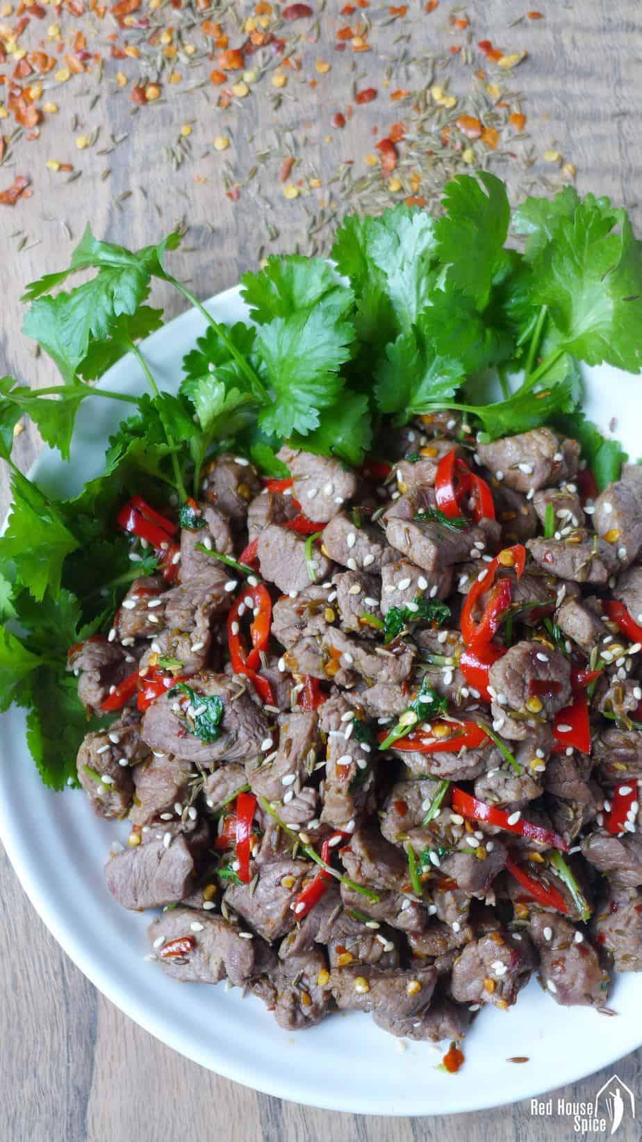 Lamb stir-fry seasoned with cumin & chilli