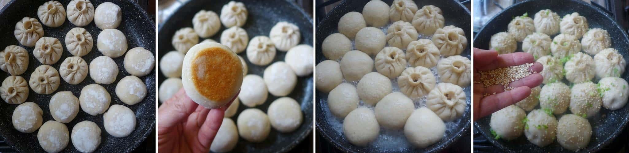 4 step photos showing how to cook Sheng Jian Bao (pan-fried pork buns)