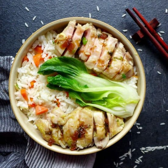 a bowl of chicken & rice