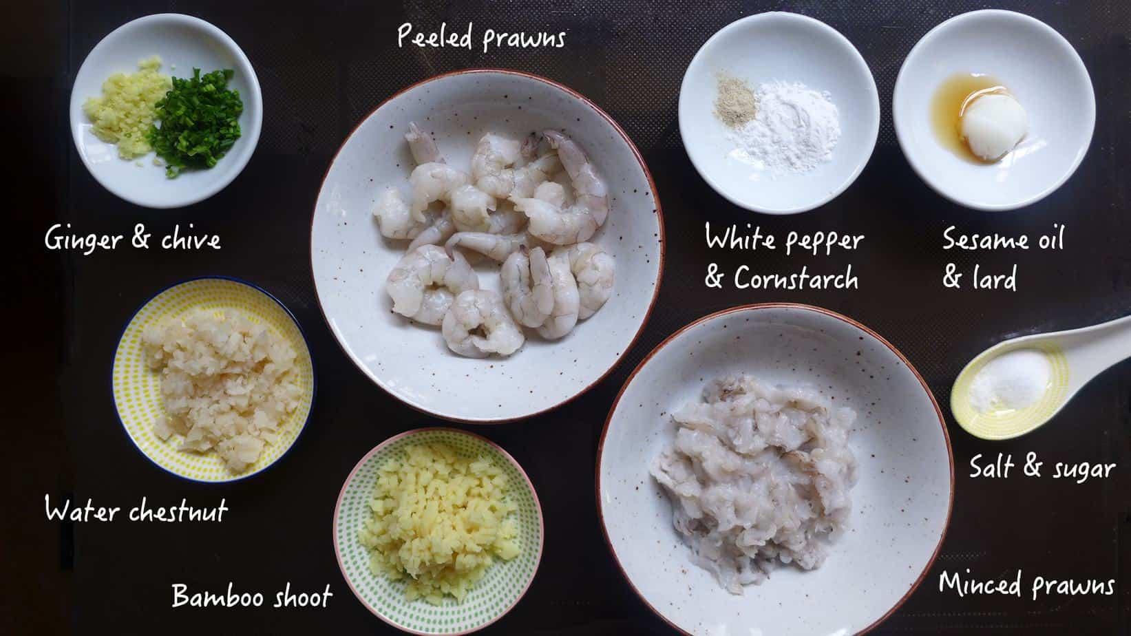 Ingredients for making Har Gow, crystal shrimp dumplings