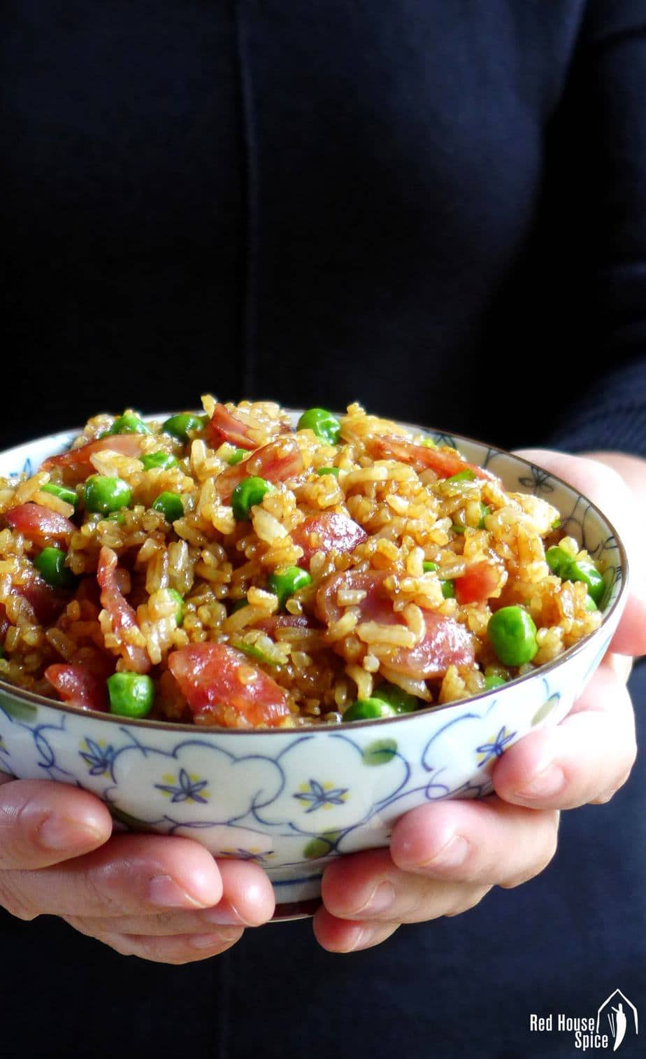 A bowl of fried rice held by hands