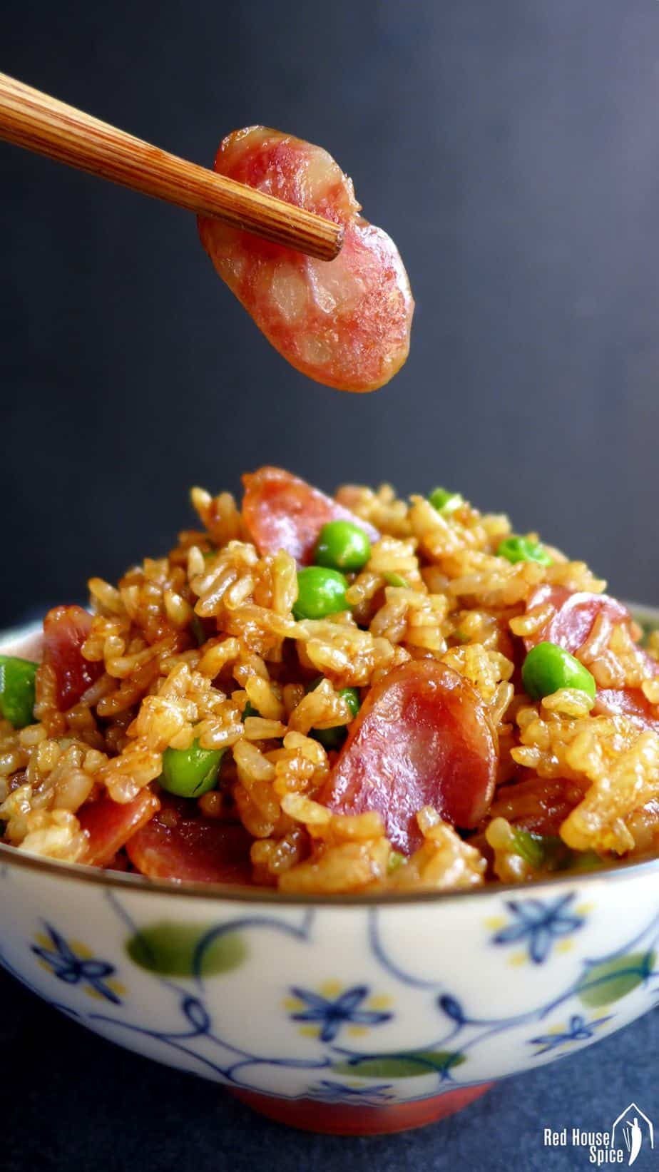 Fried rice with sliced Chinese sausage