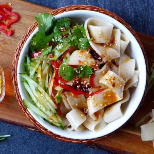 A bowl of Liang pi, Chinese cold skin noodles.