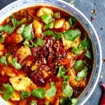 A bowl of Sichuan boiled fish. Looks super spicy.