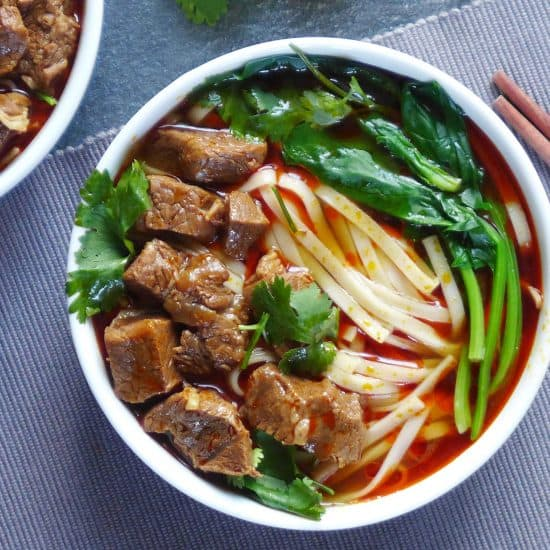 Spicy noodle soup topped with braised beef cubes