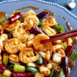 A plate of freshly cooked Kung Pao shrimps.