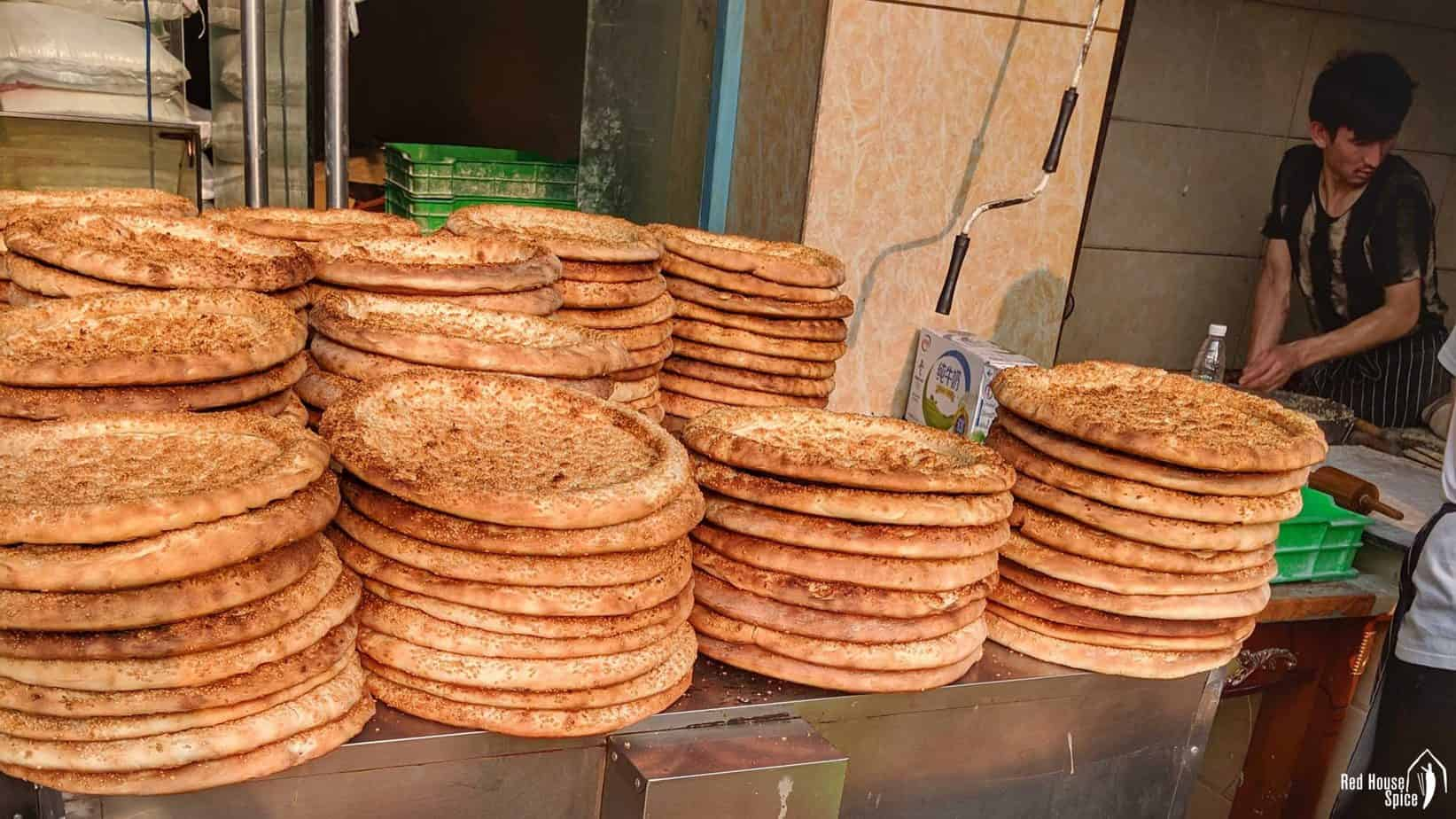 Xinjiang style Nang bread sold at a street stall.
