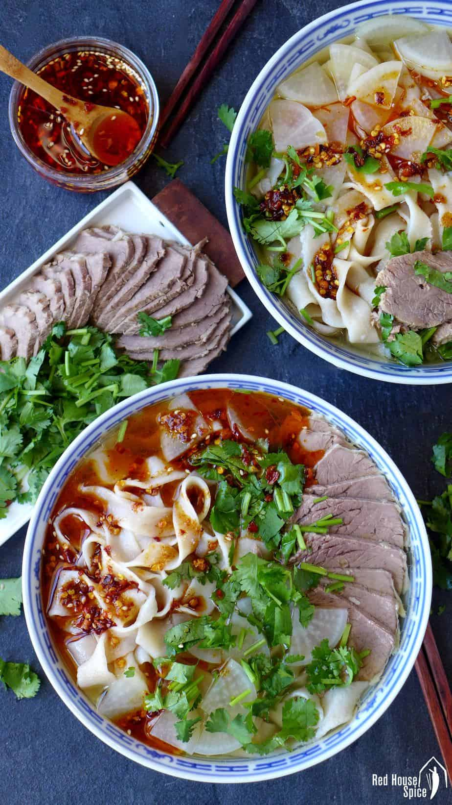 Two bowls of Lanzhou beef noodle soup