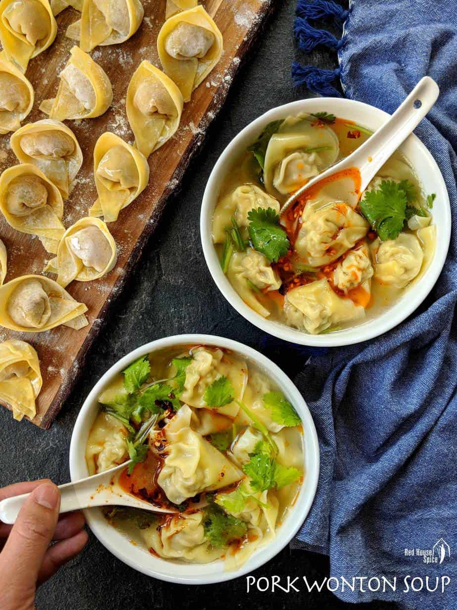 Tasty, moist pork filling wrapped with slippery wonton skin, served in hot chicken soup, this pork wonton soup is a perfect treat on cold winter days.