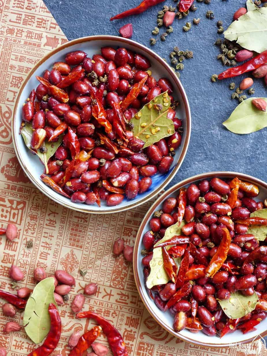 Two plates of Sichuan spicy peanuts