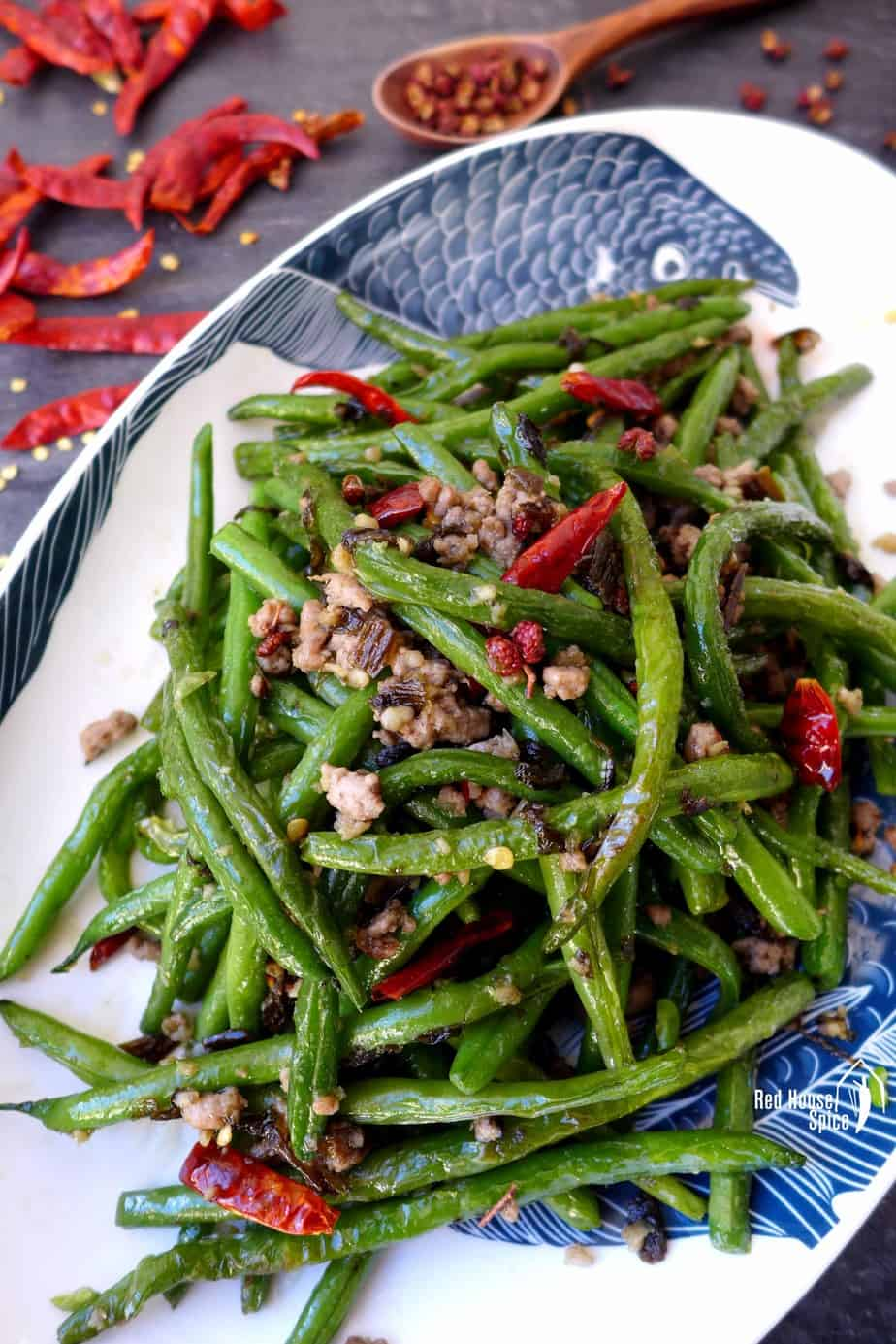 Green beans fried with minced meat and spices