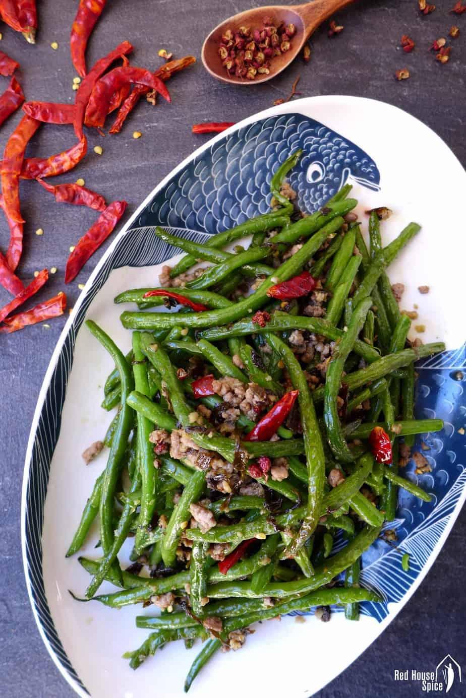 A plate of Sichuan green bean stir fry