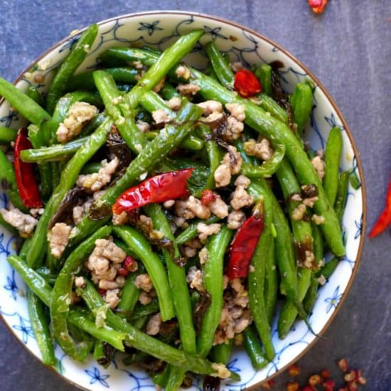 Dry fried green beans with Chinese olive vegetable