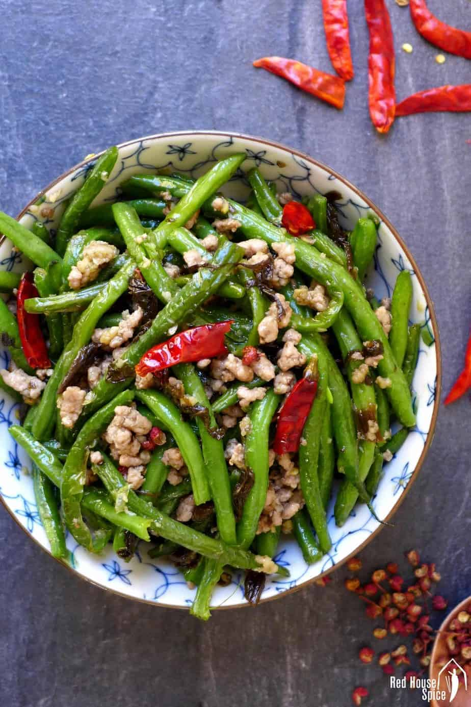 A bowl of dry fried green beans